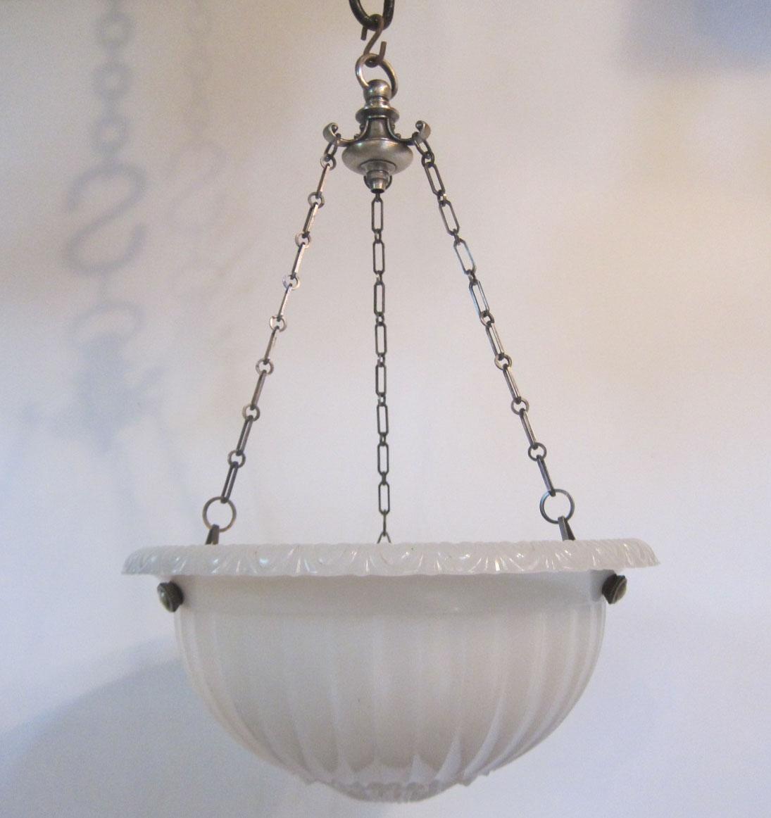 Large Moonstone Glass Pendant Light