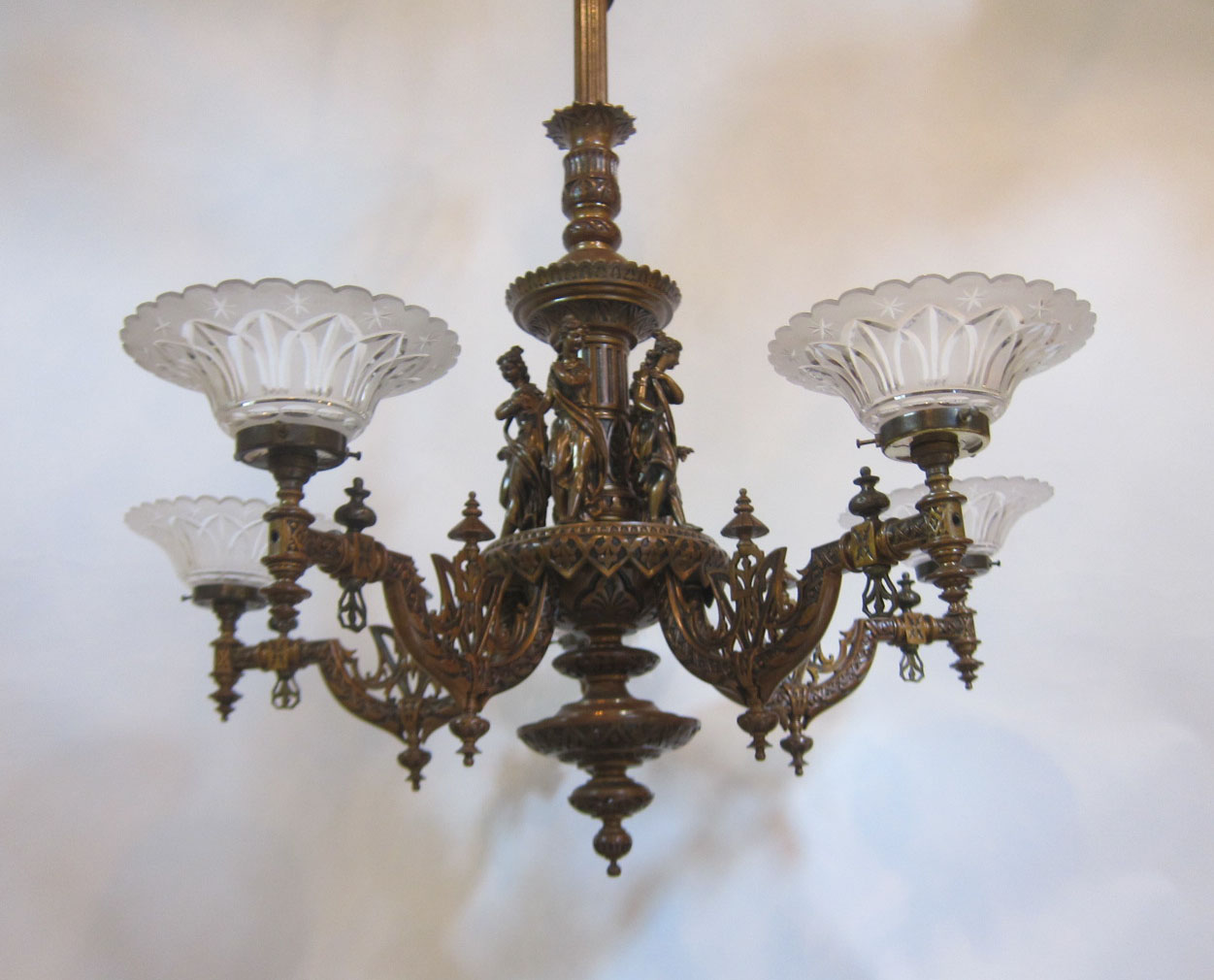 Five Arm Converted Gas Ceiling Light