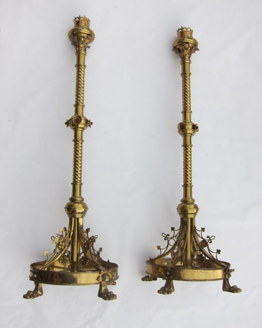 Huge pair of Gothic candlesticks